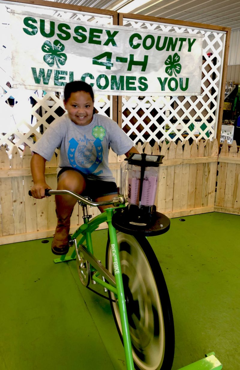 4-H Youth on Blender Bike